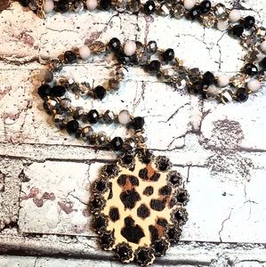 Jewelry - Czech crystal glass bead necklace wood leopard